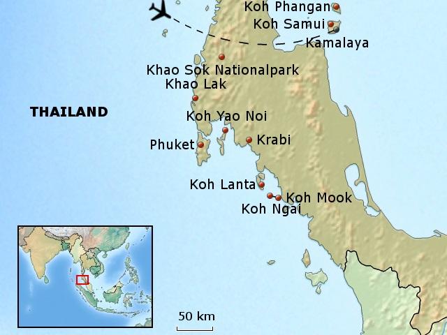 Koh Samui Landkaart Map Plattegrond Kaart Strand Vakantie Ko Samui